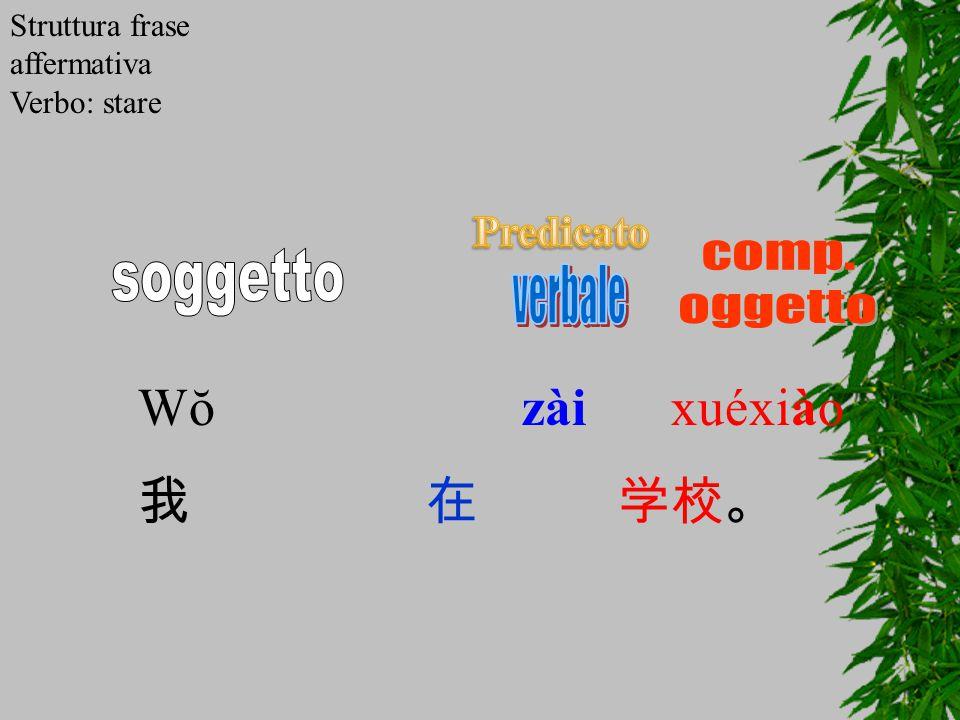 Wŏ zài xuéxiào 我 在 学校。 comp. soggetto verbale oggetto Predicato