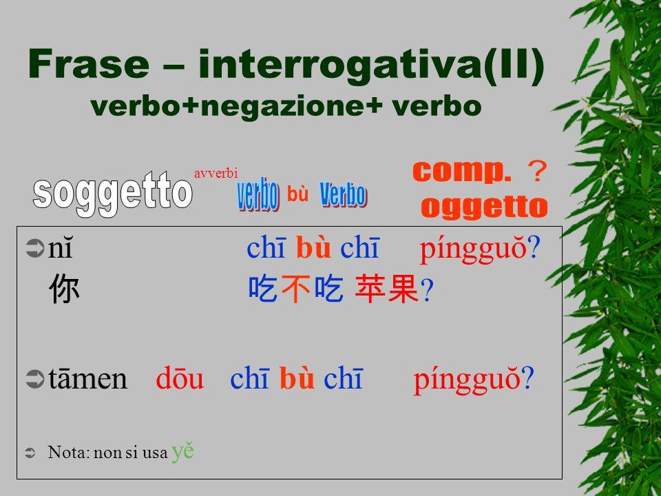 Frase – interrogativa(II) verbo+negazione+ verbo