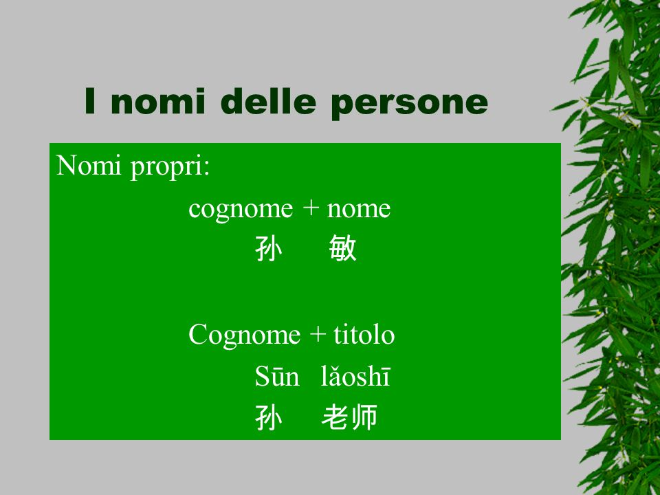 I nomi delle persone Nomi propri: cognome + nome 孙 敏 Cognome + titolo
