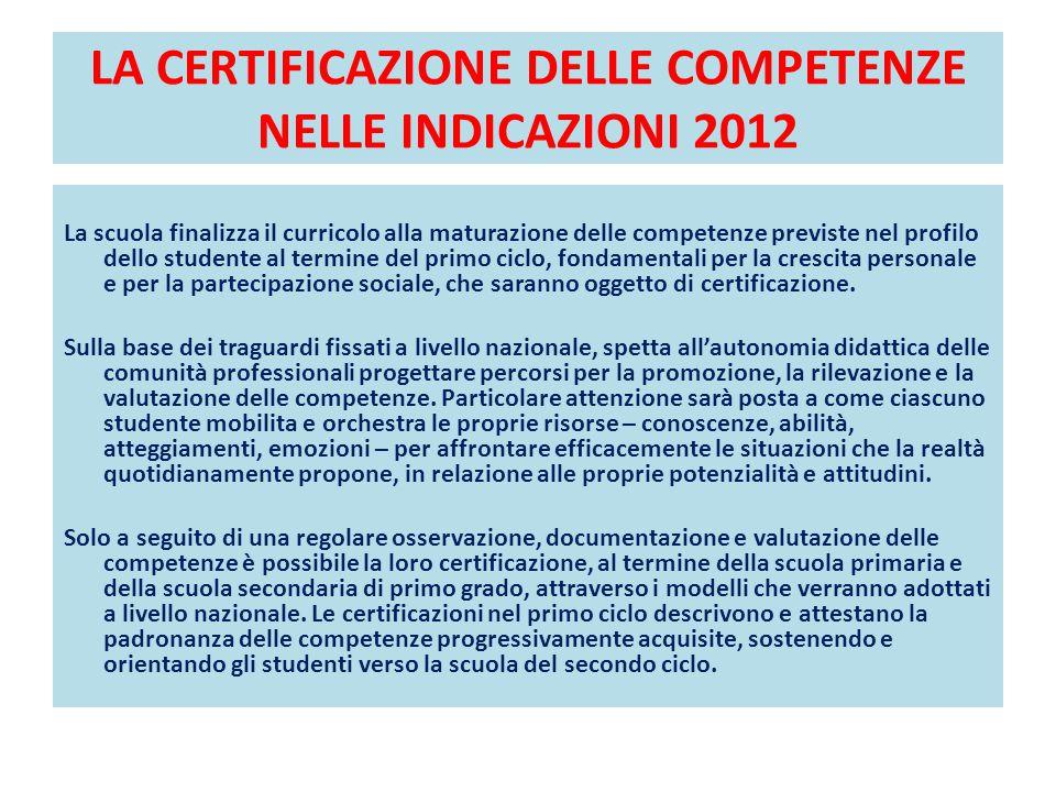 LA CERTIFICAZIONE DELLE COMPETENZE NELLE INDICAZIONI 2012