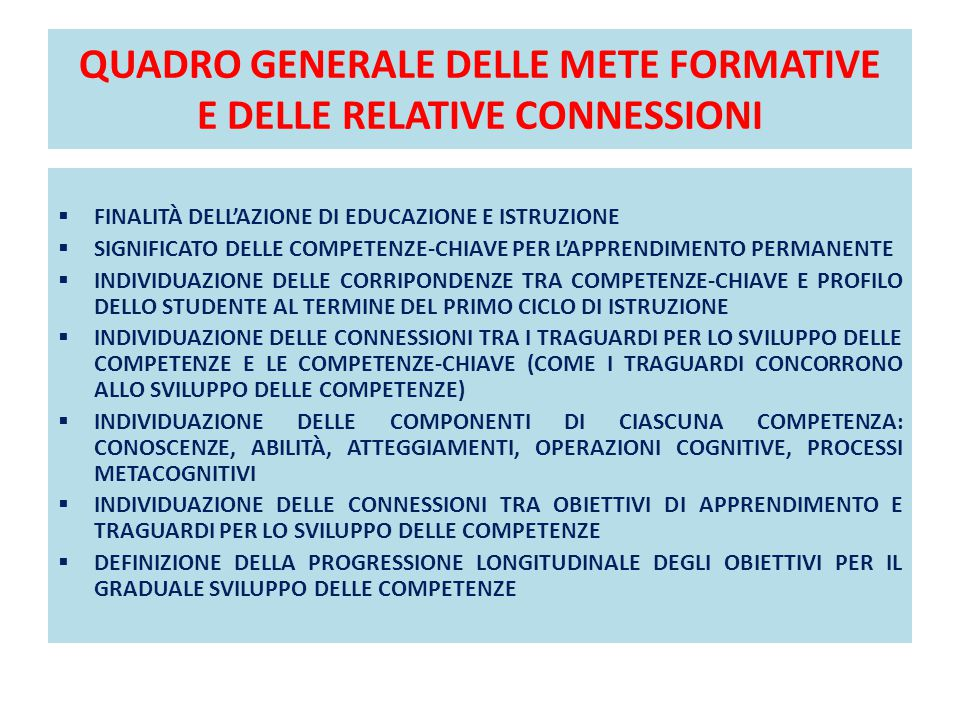 QUADRO GENERALE DELLE METE FORMATIVE E DELLE RELATIVE CONNESSIONI
