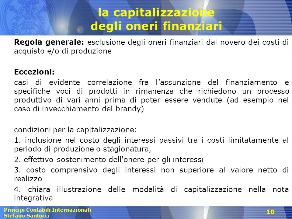 la capitalizzazione degli oneri finanziari