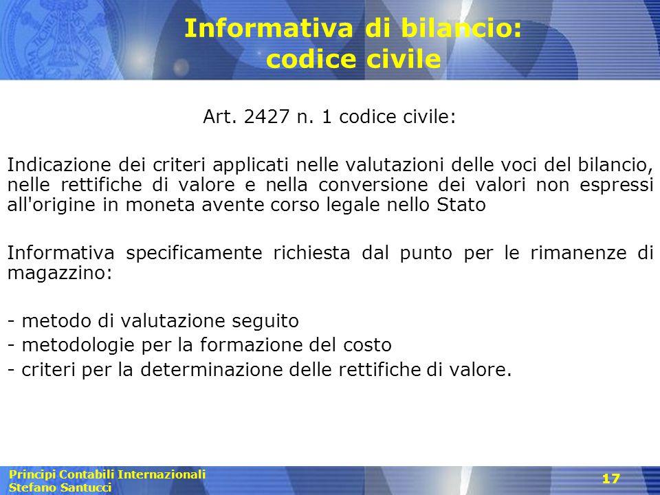 Informativa di bilancio: codice civile