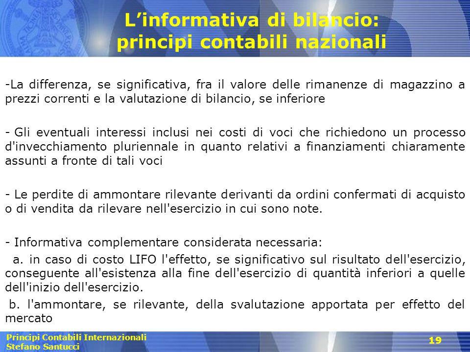 L'informativa di bilancio: principi contabili nazionali