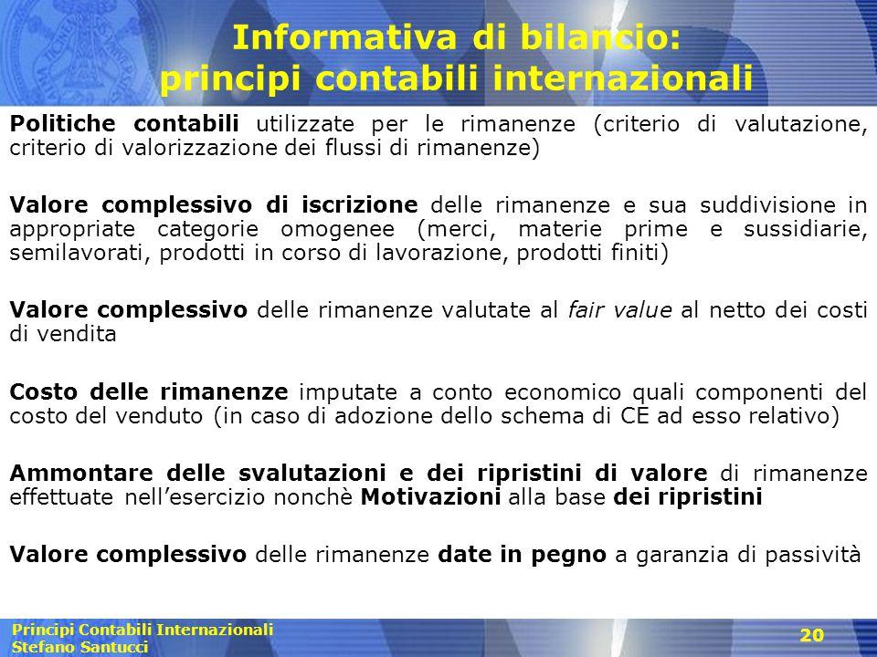 Informativa di bilancio: principi contabili internazionali