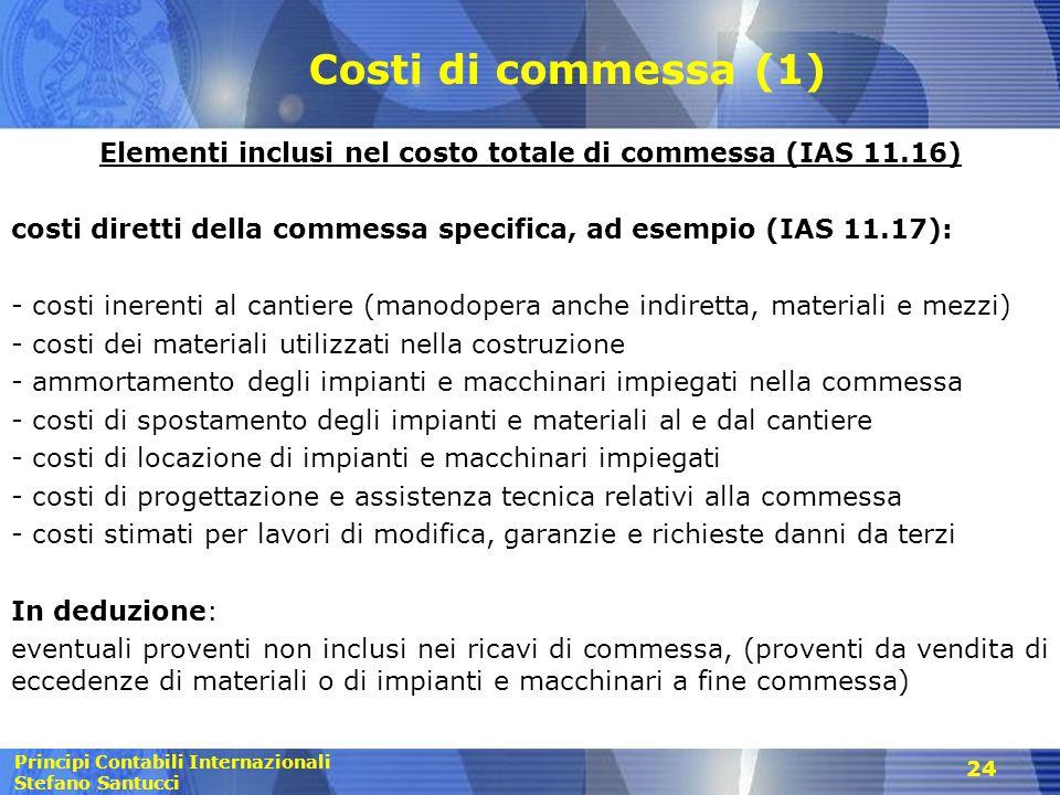 Elementi inclusi nel costo totale di commessa (IAS 11.16)