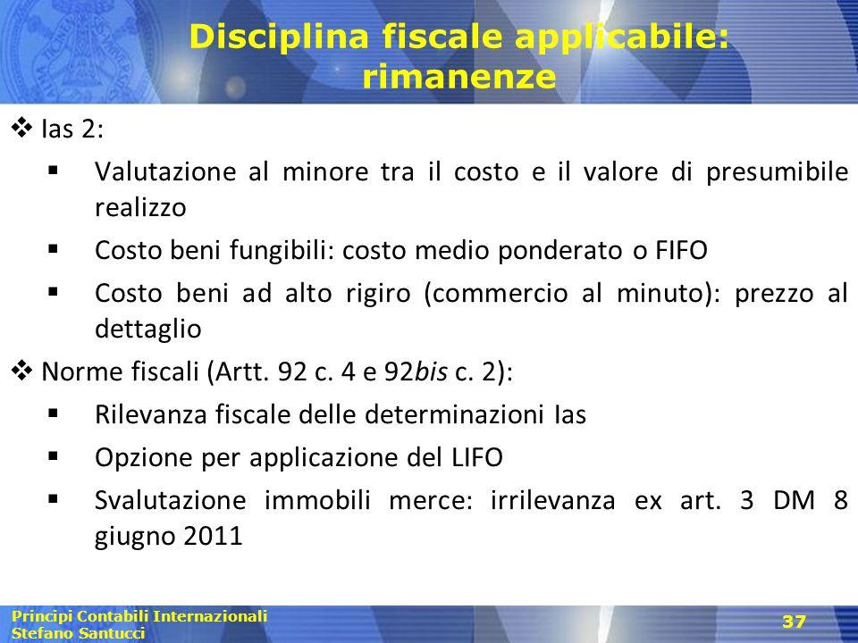 Disciplina fiscale applicabile: rimanenze