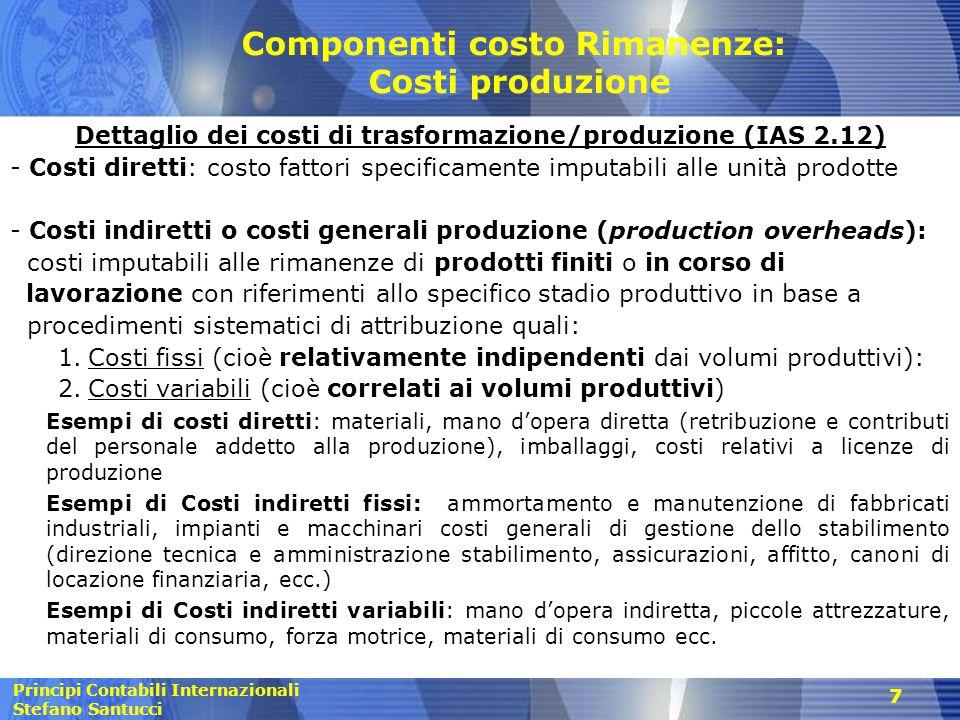 Componenti costo Rimanenze: Costi produzione