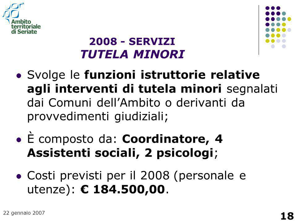 2008 - SERVIZI TUTELA MINORI