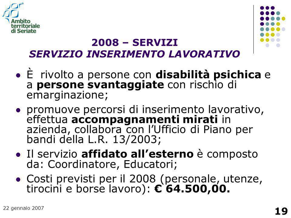 2008 – SERVIZI SERVIZIO INSERIMENTO LAVORATIVO