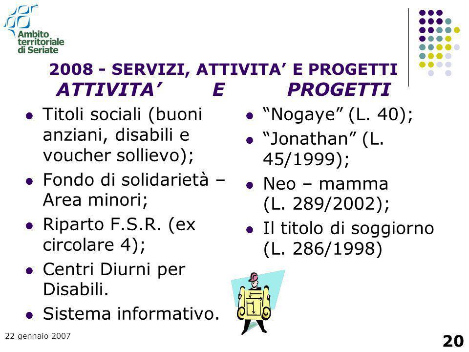 2008 - SERVIZI, ATTIVITA' E PROGETTI ATTIVITA' E PROGETTI