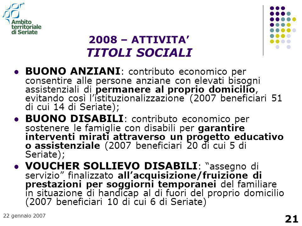 2008 – ATTIVITA' TITOLI SOCIALI