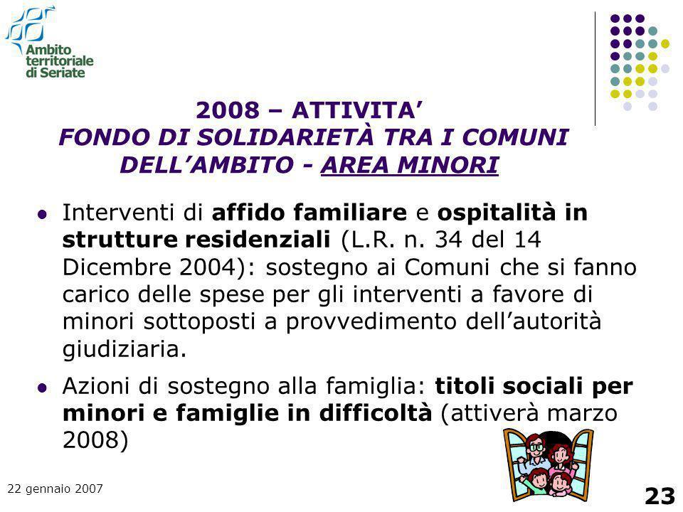 2008 – ATTIVITA' FONDO DI SOLIDARIETÀ TRA I COMUNI DELL'AMBITO - AREA MINORI