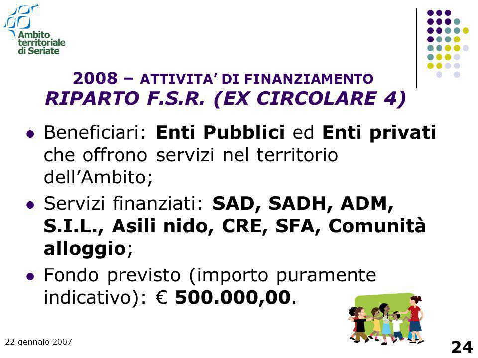 2008 – ATTIVITA' DI FINANZIAMENTO RIPARTO F.S.R. (EX CIRCOLARE 4)