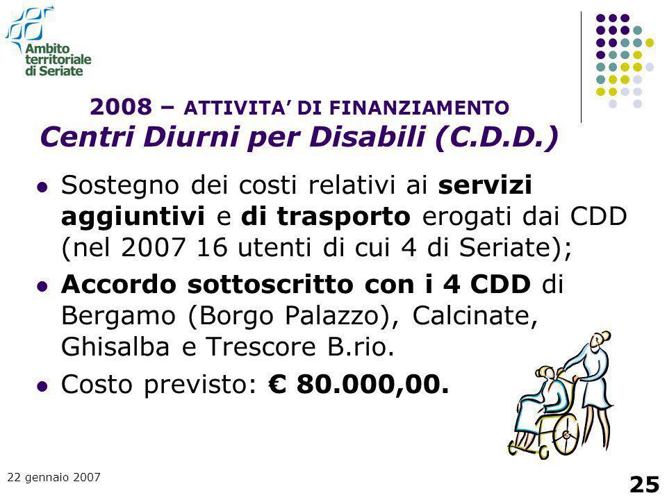 2008 – ATTIVITA' DI FINANZIAMENTO Centri Diurni per Disabili (C.D.D.)