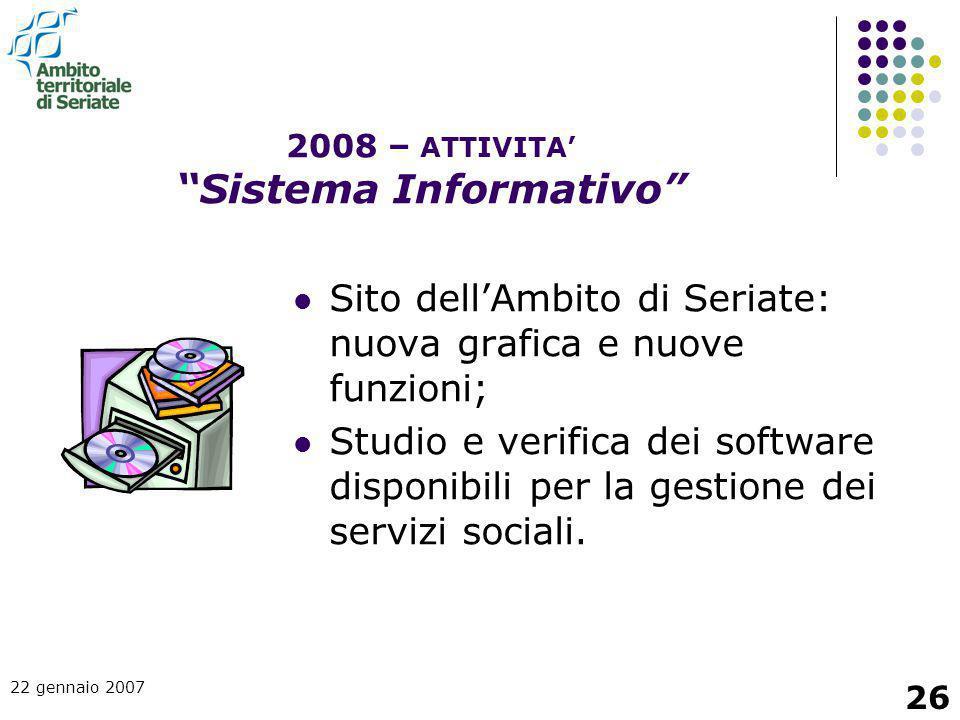 2008 – ATTIVITA' Sistema Informativo