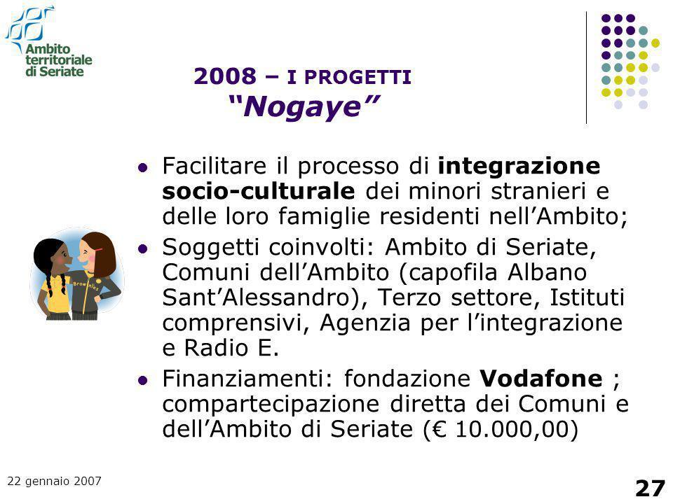 2008 – I PROGETTI Nogaye Facilitare il processo di integrazione socio-culturale dei minori stranieri e delle loro famiglie residenti nell'Ambito;