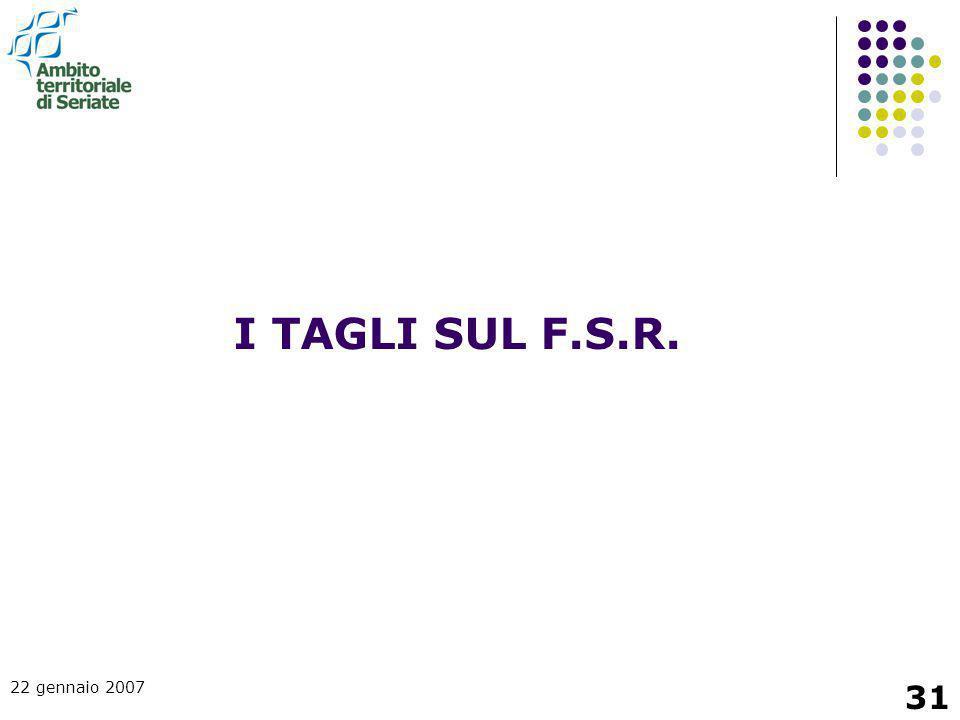 I TAGLI SUL F.S.R. 22 gennaio 2007