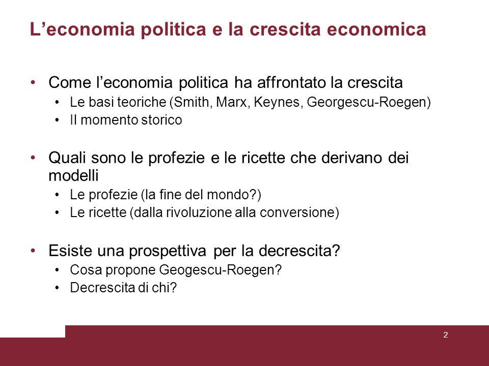L'economia politica e la crescita economica