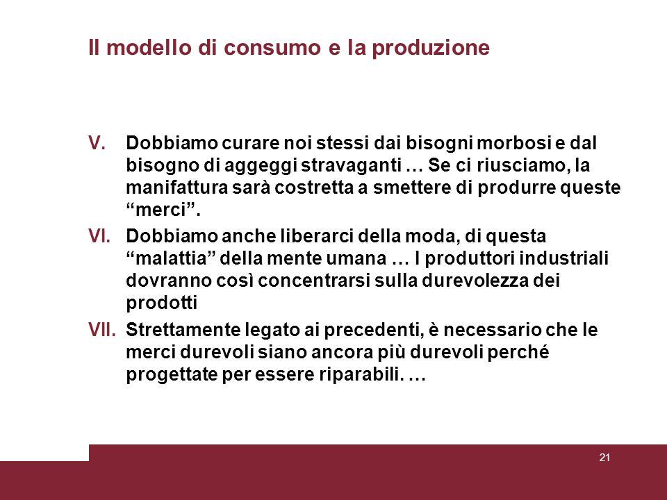 Il modello di consumo e la produzione
