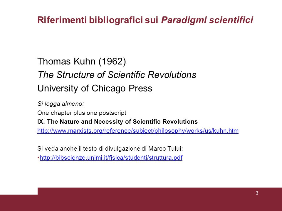 Riferimenti bibliografici sui Paradigmi scientifici