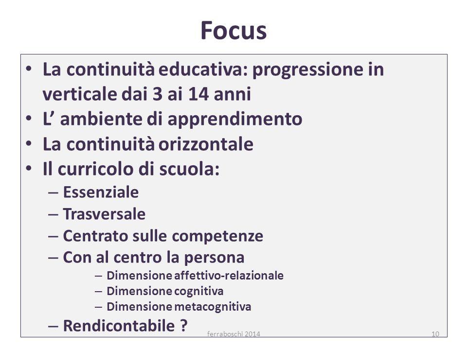 Focus La continuità educativa: progressione in verticale dai 3 ai 14 anni. L' ambiente di apprendimento.