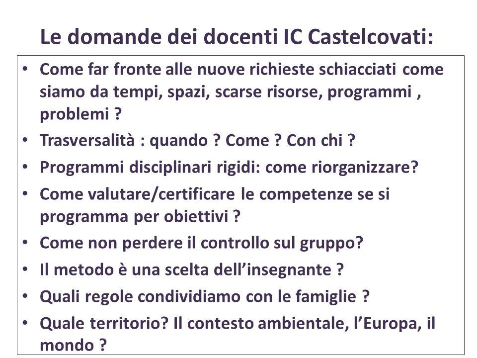 Le domande dei docenti IC Castelcovati: