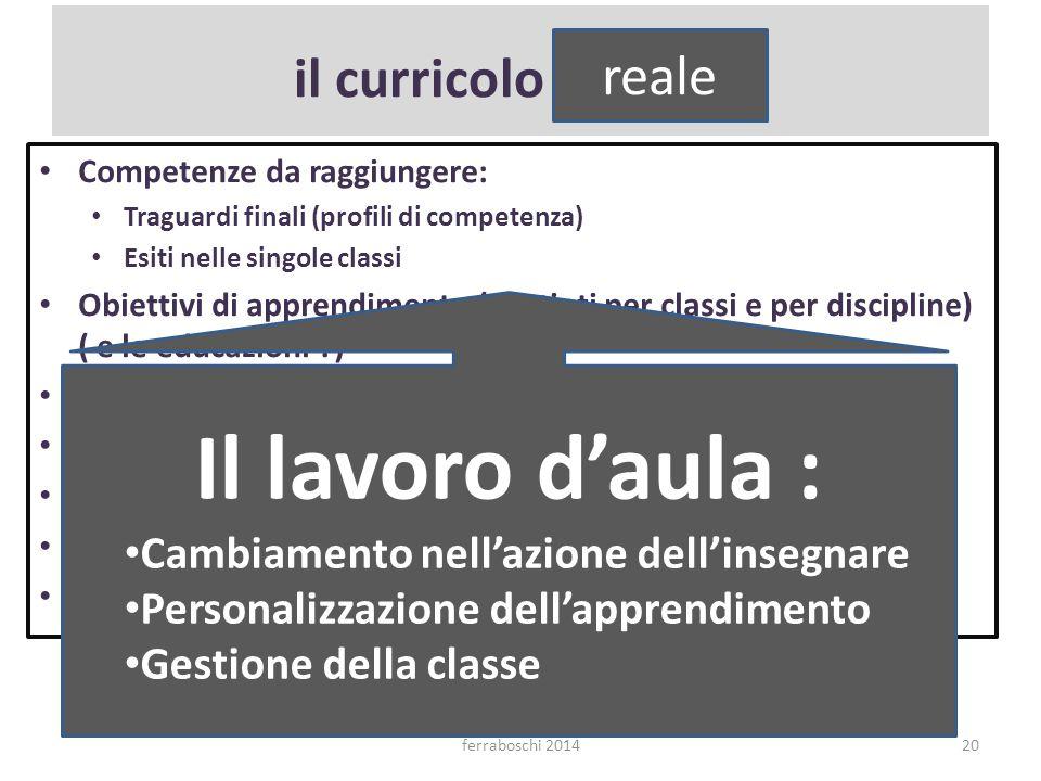 Il lavoro d'aula : il curricolo formale reale