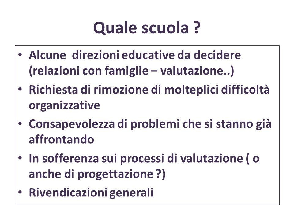 Quale scuola Alcune direzioni educative da decidere (relazioni con famiglie – valutazione..)