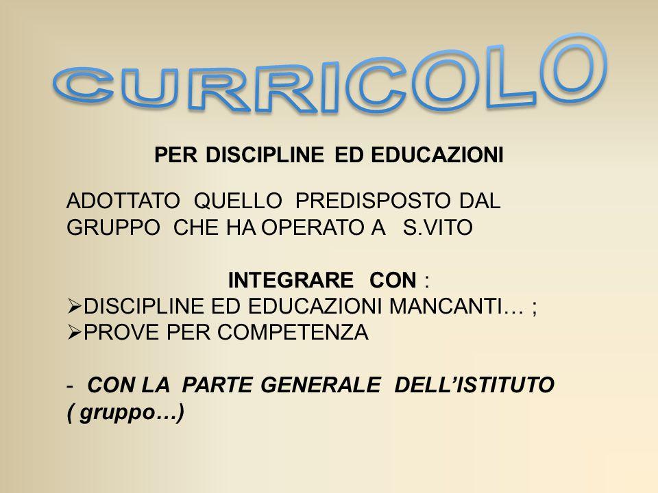 PER DISCIPLINE ED EDUCAZIONI