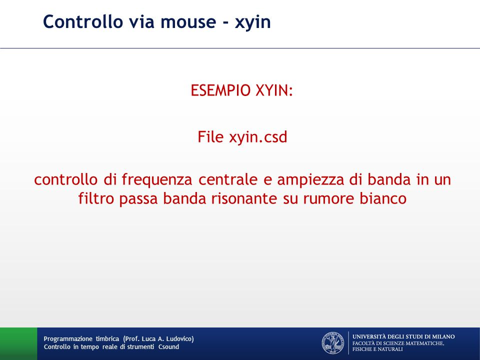 Controllo via mouse - xyin