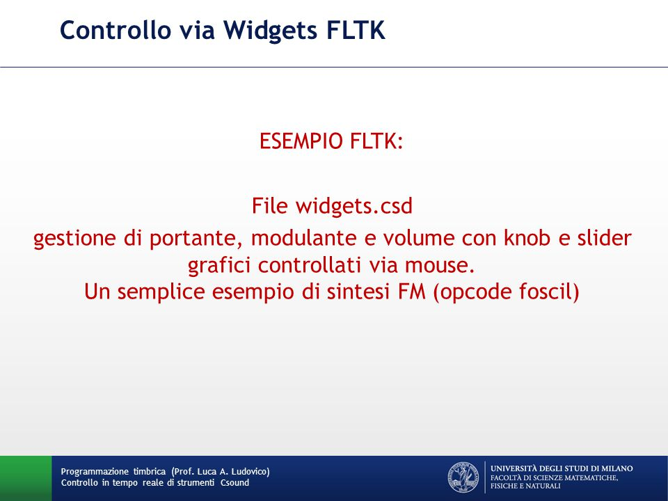 Controllo via Widgets FLTK