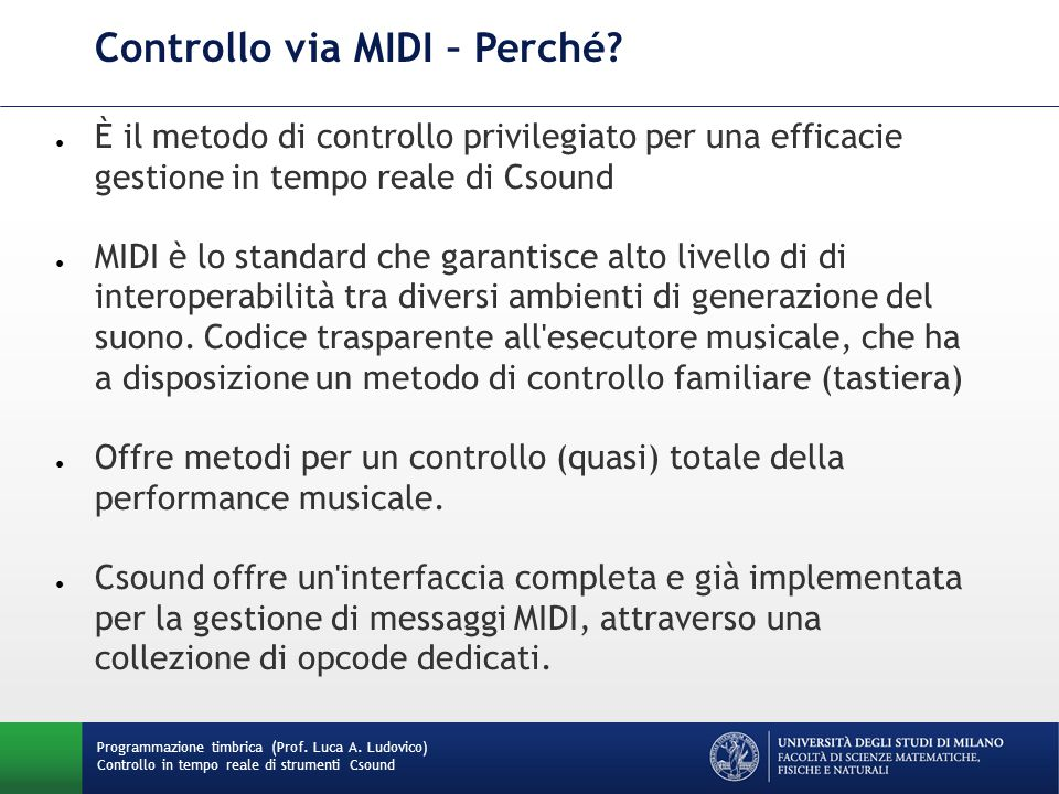 Controllo via MIDI – Perché