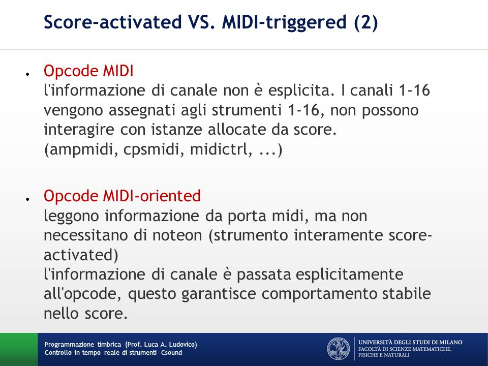 Score-activated VS. MIDI-triggered (2)