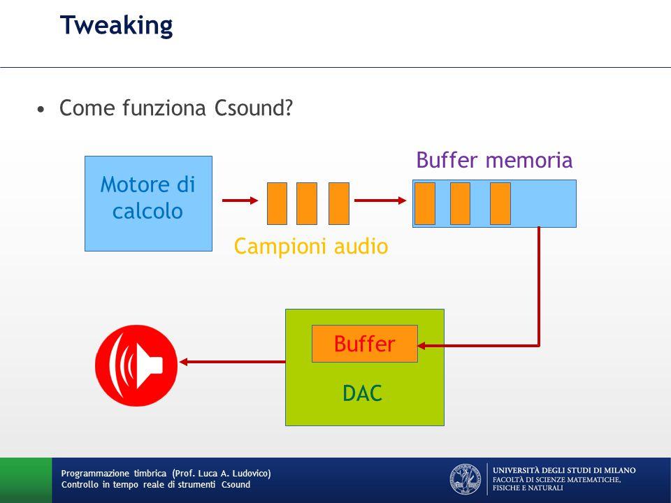 Tweaking Come funziona Csound Buffer memoria Motore di calcolo