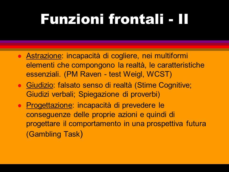 Funzioni frontali - II