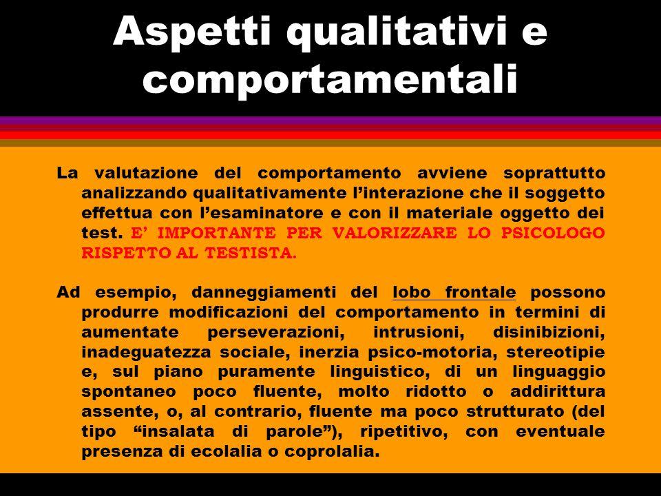 Aspetti qualitativi e comportamentali