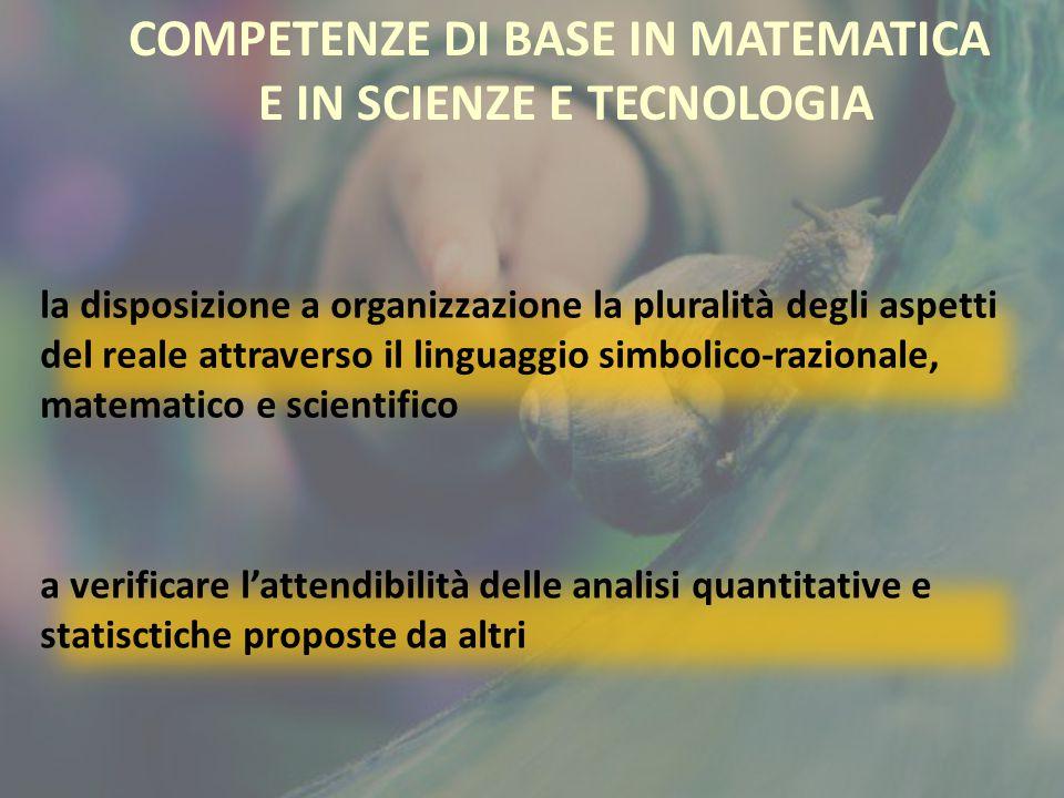 COMPETENZE DI BASE IN MATEMATICA E IN SCIENZE E TECNOLOGIA