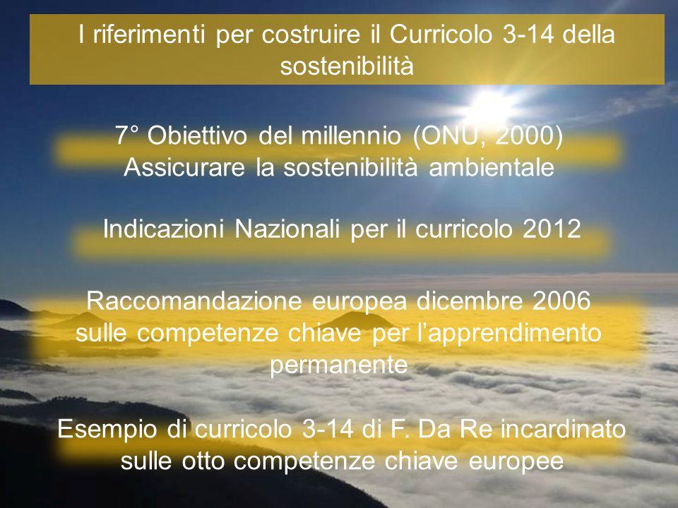 I riferimenti per costruire il Curricolo 3-14 della sostenibilità
