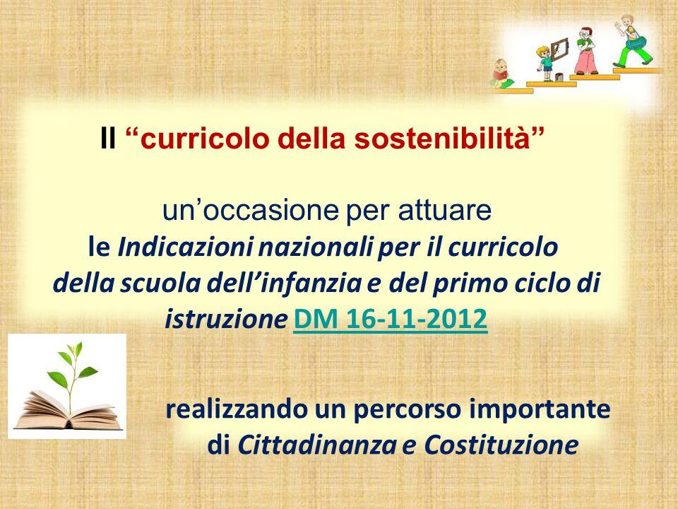 Il curricolo della sostenibilità di Cittadinanza e Costituzione