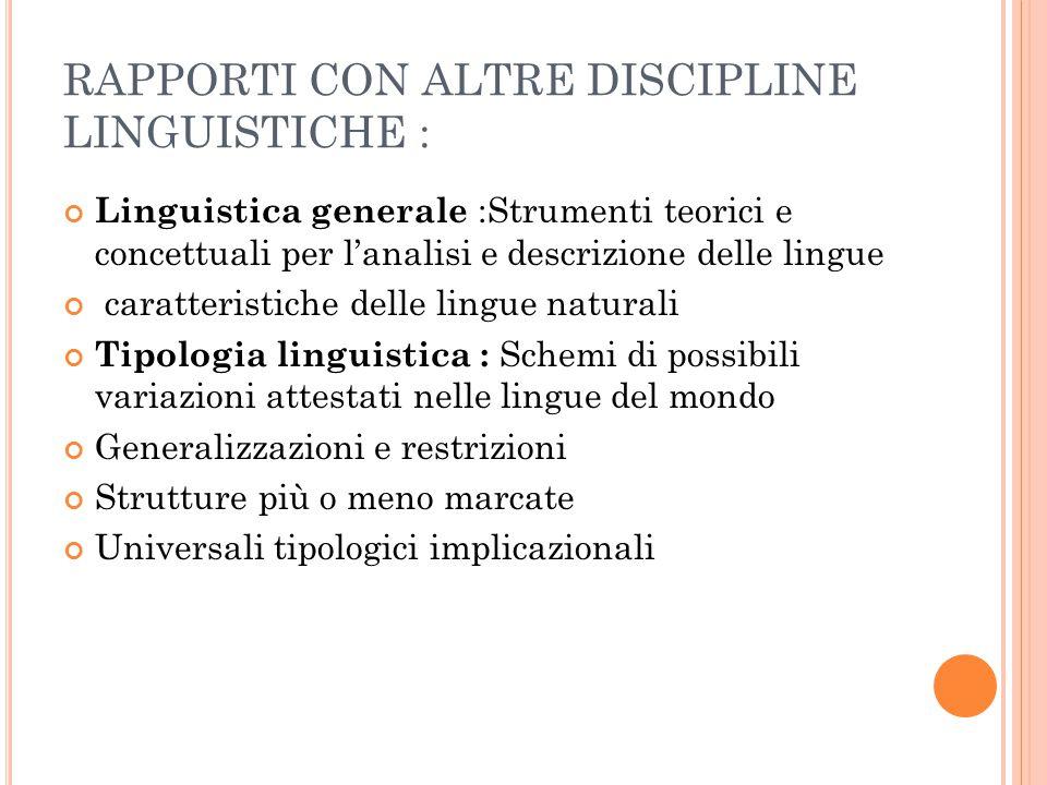 RAPPORTI CON ALTRE DISCIPLINE LINGUISTICHE :