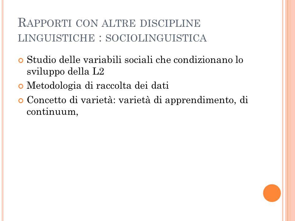 Rapporti con altre discipline linguistiche : sociolinguistica