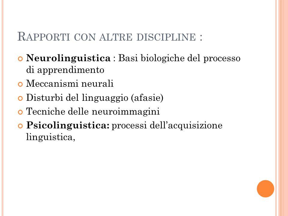 Rapporti con altre discipline :