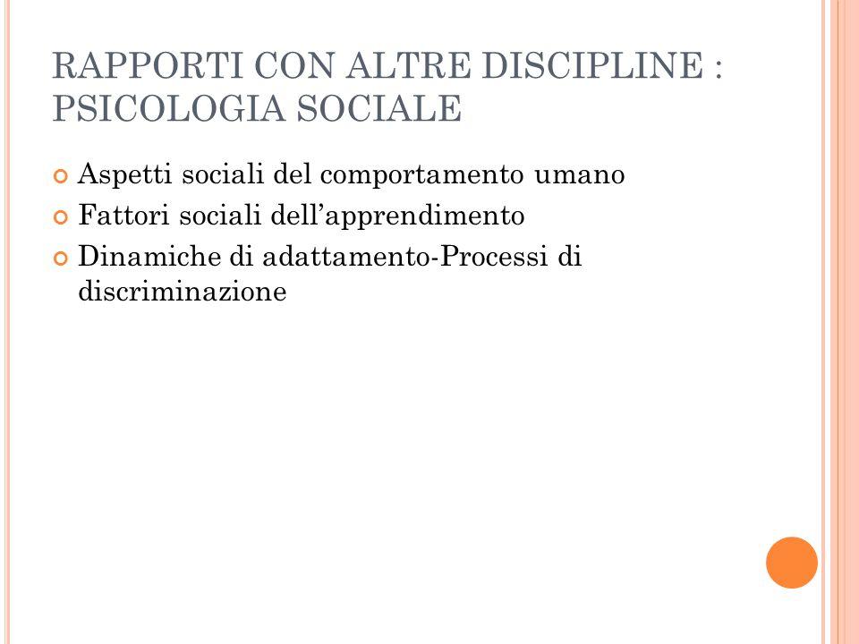 RAPPORTI CON ALTRE DISCIPLINE : PSICOLOGIA SOCIALE