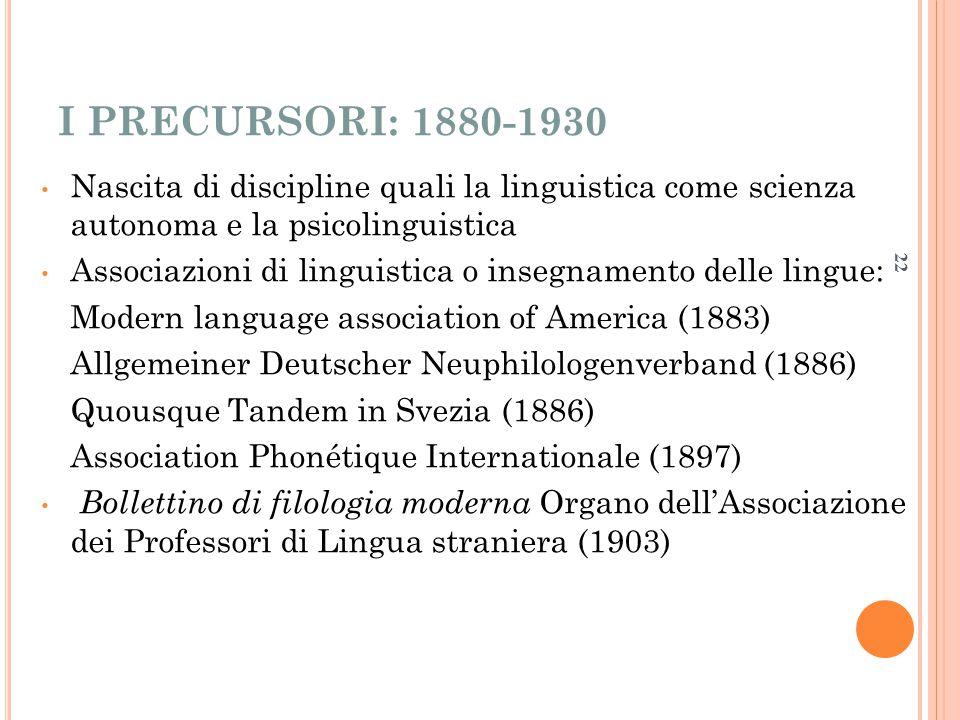 I PRECURSORI: 1880-1930 Nascita di discipline quali la linguistica come scienza autonoma e la psicolinguistica.