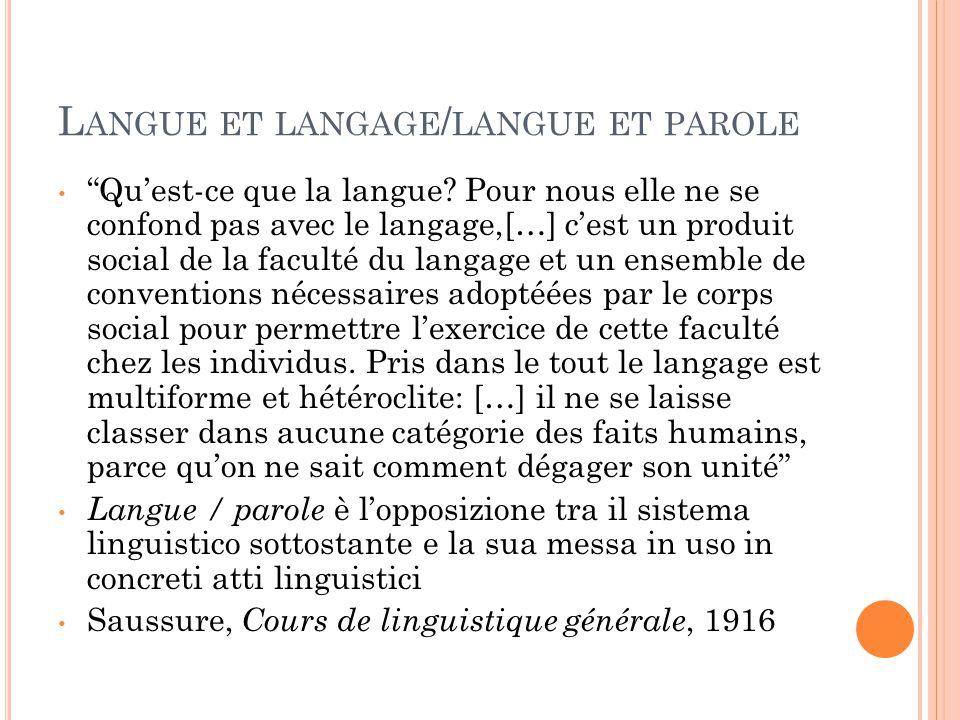 Langue et langage/langue et parole