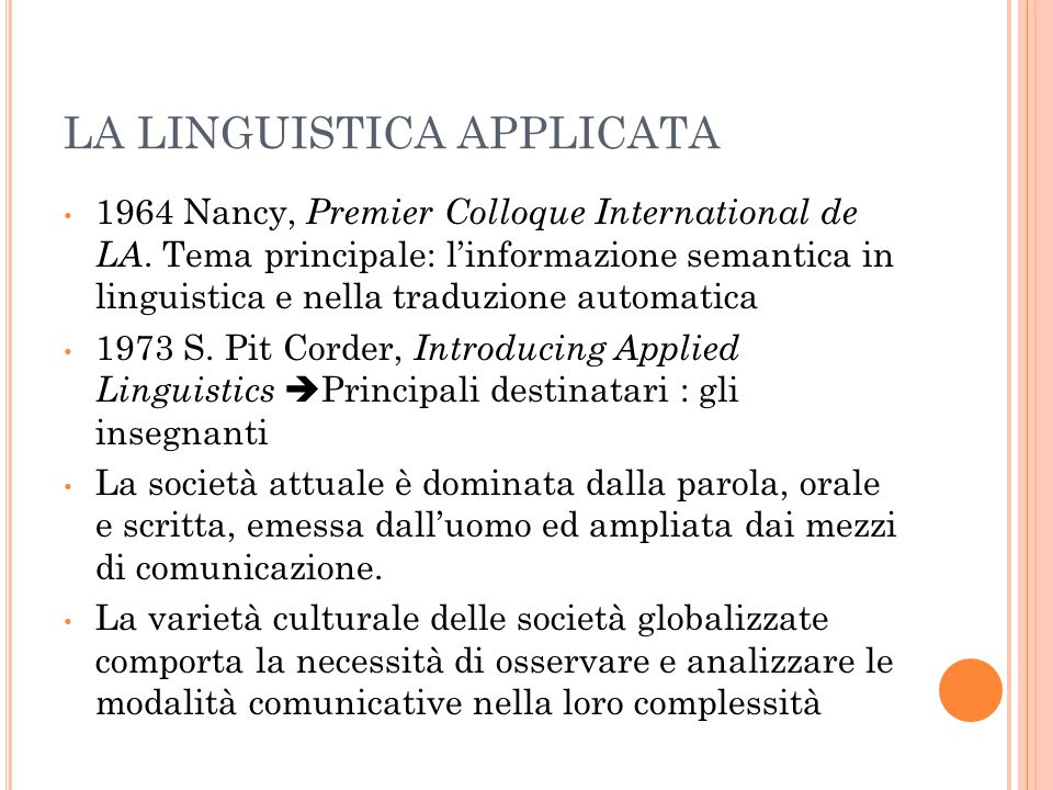LA LINGUISTICA APPLICATA