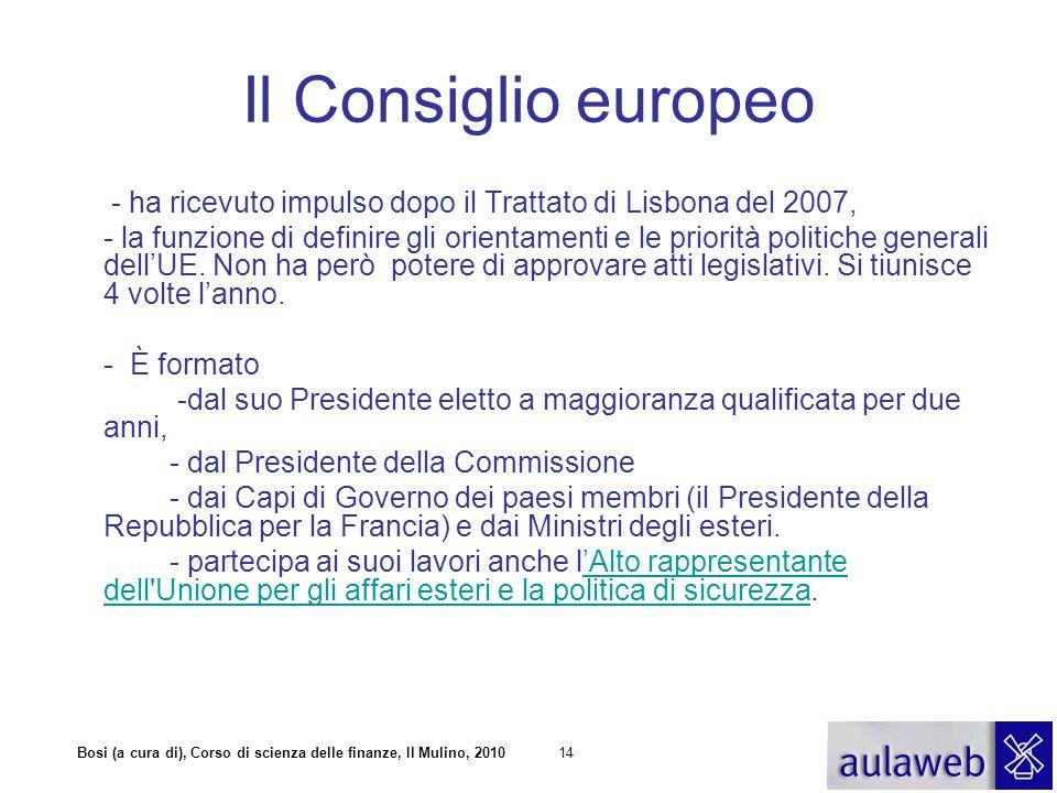 Il Consiglio europeo - ha ricevuto impulso dopo il Trattato di Lisbona del 2007,