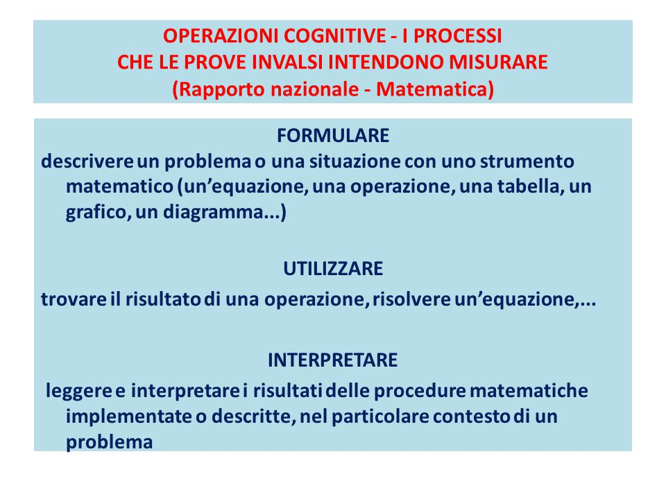 OPERAZIONI COGNITIVE - I PROCESSI CHE LE PROVE INVALSI INTENDONO MISURARE (Rapporto nazionale - Matematica)