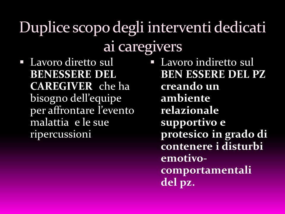 Duplice scopo degli interventi dedicati ai caregivers
